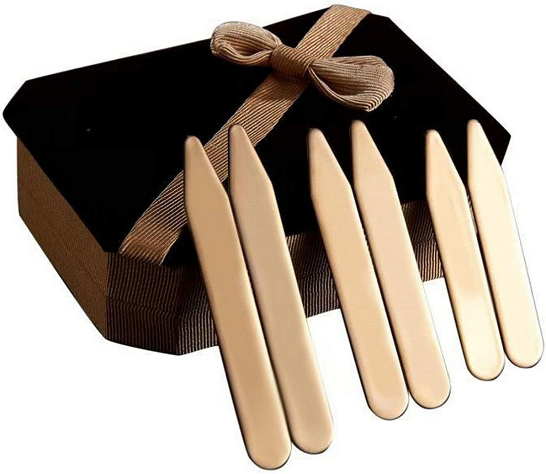 6Pcs Rose Gold Stainless Steel Collar Stays Shirt Collar Stiffeners in a Nice Gift Box Size 2.2
