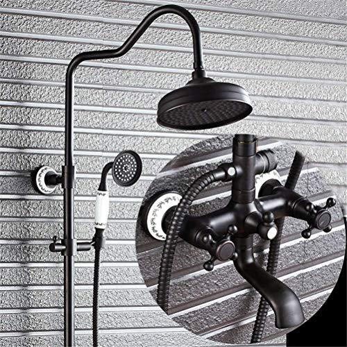 Faucet de ducha antiguo Baño negro Conjunto de ducha Cabeza de ducha 2 Manijas Montado en la pared Estilo de cerámica Sistema de ducha Bañera Bañera Grifo (Color : B)