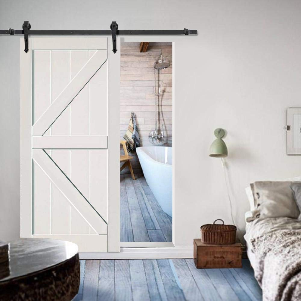 topeakmart 6 ft moderno interior puerta corrediza de granero ...