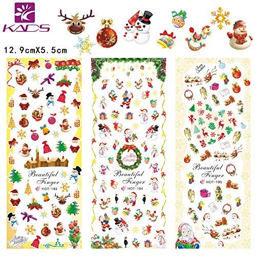 KADS 4Pcs Fogli Natale Adesivi per Unghi Decalcomanie del Unghie Nail Art di Modello del Santa,Renna,Fiocchi di Neve