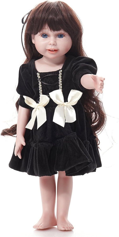 artículos novedosos YIHANGG Reborn Baby Dolls Dolls Dolls Vinilo De Silicona Cabello Largo Realista Hermosa Simulación Vestido Negro Ojos Abierta Vida Real Regalo Favorito Puede Lavarse  en linea