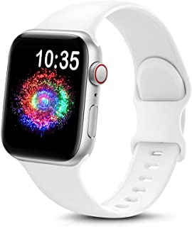 TreasureMax Sport Band Compatible with Apple Watch Bands 38mm 40mm 42mm 44mm, Soft Silicone Replacement Strap Compatible for Apple Watch Series 6 5 4 3 2 1 SE Men Women White 38MM/40MM