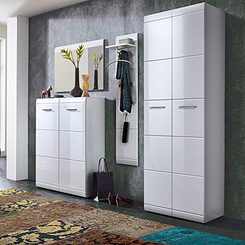 Lomado Garderobe 4-teilig ● Hochglanz Weiß ● Garderobenset: Schuhschrank, Spiegel, Garderobenpaneel, Garderobenschrank ● Made in Germany