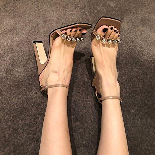 Xue Qiqi bloc carré à l'aide d'une sangle de forage d'eau épais avec des sandales à talon haut sandales open toe marée féminin,37, couleur avec 6CM