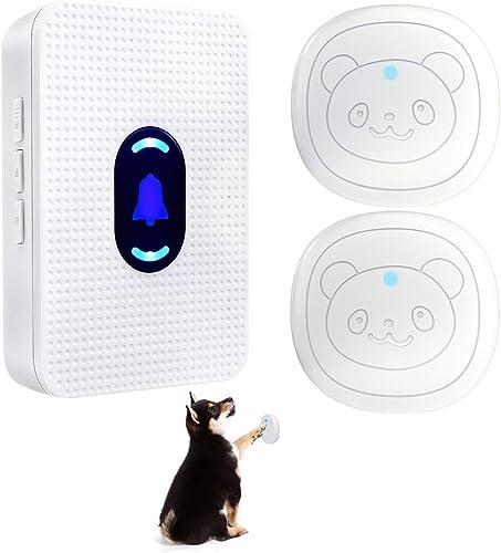 Daytech Wireless Dog Doorbell Smart Doggie Potty Communication Door Bell with Super-Light Press Button(1 Receiver & 2...