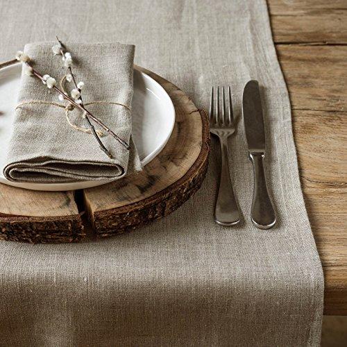 Chemin de table lin - chemin de table en lin - 100% lin - 40 x 100 cm - Naturel marron