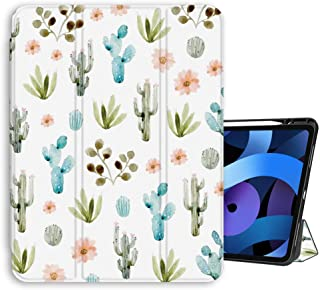 "iPad Air 4th Generation 10.9"" Case 2020 Air 4 Auto Wake/Sleep Smart Protective Soft TPU Leather Cute Watercolor Cactus Cac..."