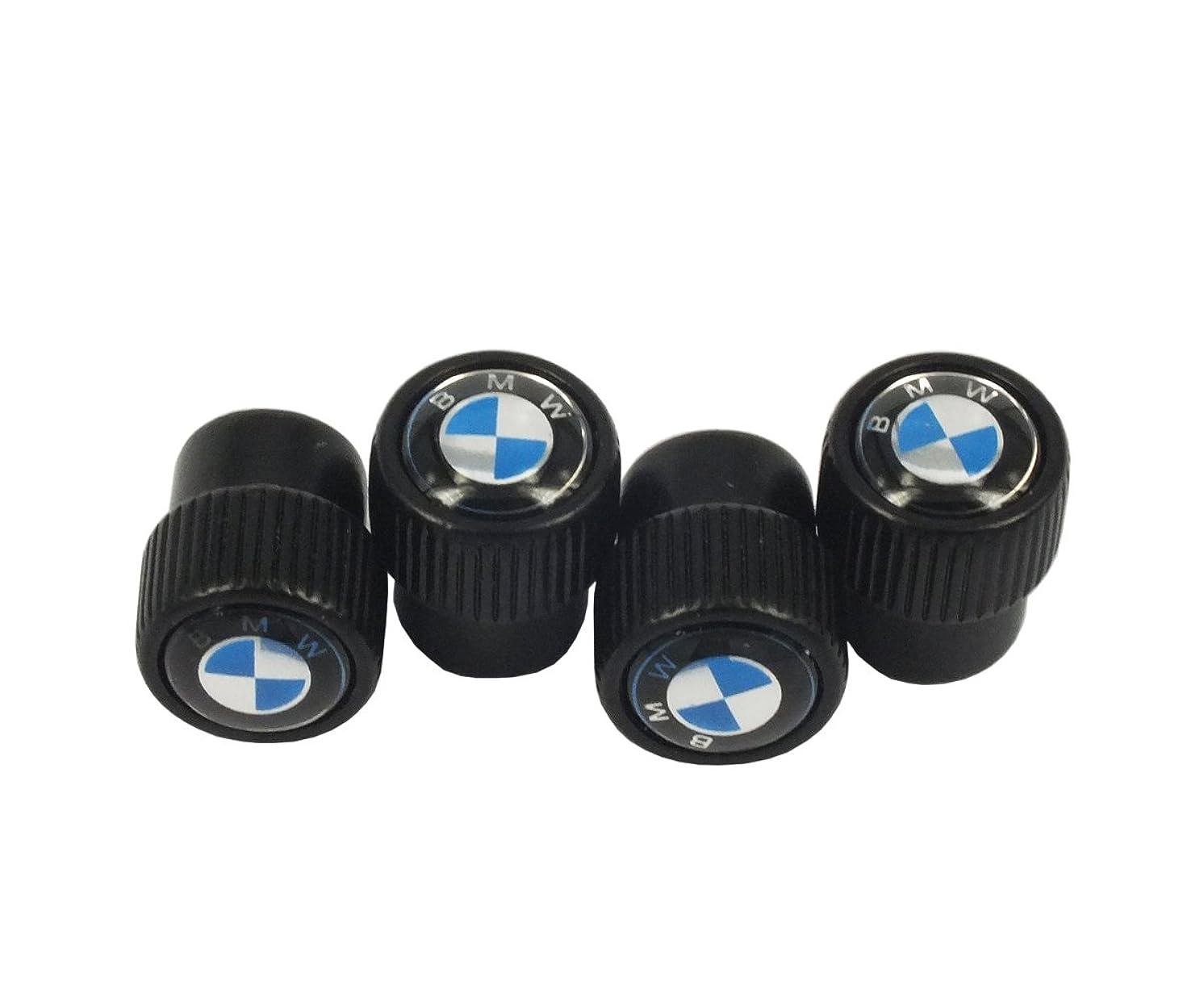 PLKN 4pcs Black Color BMW Logo Car Accessories Big Head Valve Cap Fit For BMW Car Model