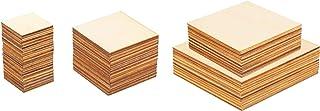 LAITER 55 Pcs Plaques Carré en Bois pour Bricolage Morceau de Bois Tranche à Décorer pour Peinture Planche de Bois Brut po...