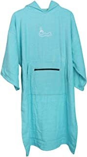 F Fityle Premium Changing Robe - Short Sleeve Hooded Surf Poncho Towel Adult Swimming Beach Diving Cloak - Blue