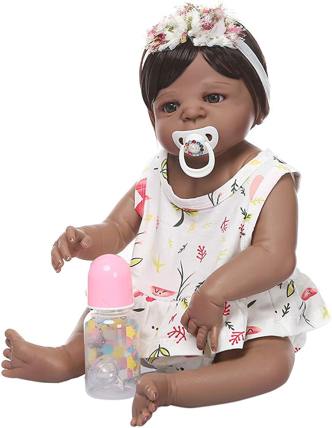 Ludzzi 22'' Reborn Doll Realistic Silicone Vinyl Newborn Babies Toy Girl Princess Floral Clothes Pacifier Lifelike Handmade Gift As A Surprise