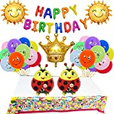 SVZIOOG Big Crown, Seven Stars, Ladybug, Emoji, Smiley Face, Aluminum Foil Balloon Themed Birthday Party Decorations 31-piece Set