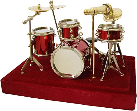1:12 Scale Red Drum Kit /& Case Tumdee Dolls House Music Instrument Set Accessory