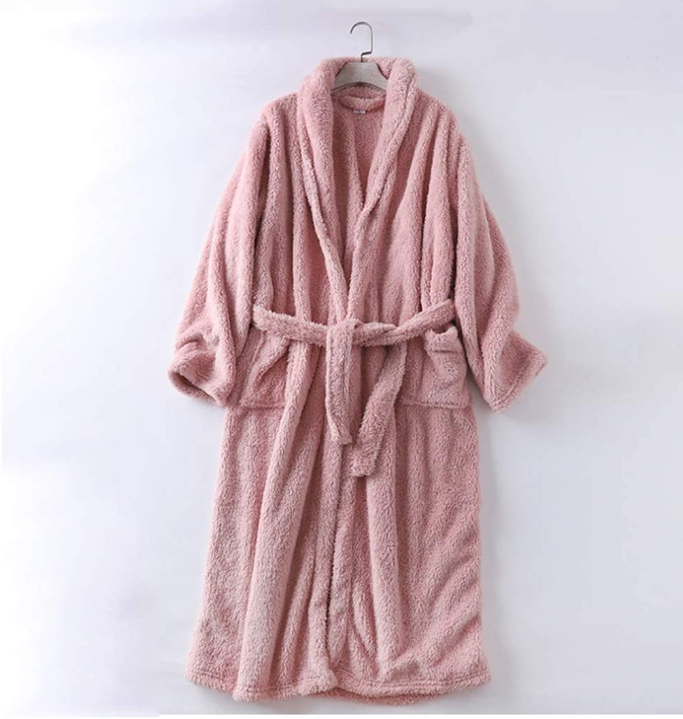 ZSQAW and Winter Couple Nightgown Plush Men and Women Flannel Bathrobe Robe Winter Warm Home Service Coral Fleece (Color : A, Size : XL)
