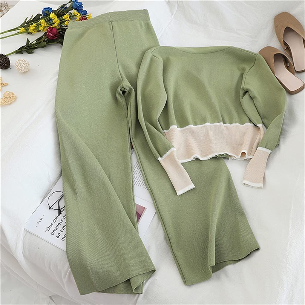 Knitted Women Elegant Two Pieces Set Autumn V-Neck Cardigan Tops and Casual Wide Leg Long Pants