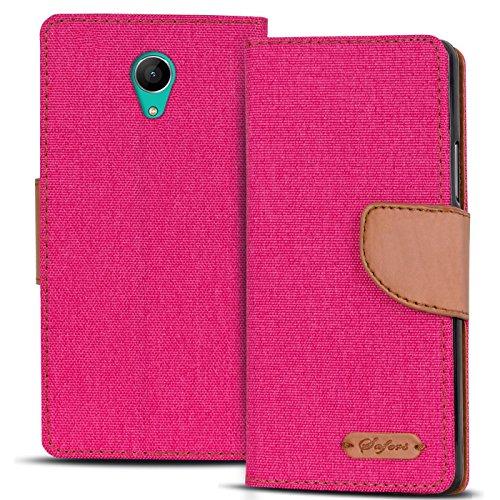 Verco Robby Hülle, Schutzhülle für Wiko Robby Tasche Denim Textil Book Hülle Flip Hülle - Klapphülle Pink