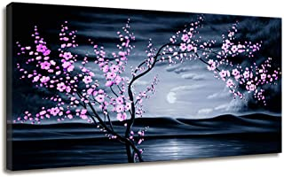 Canvas Wall Art Contemporary Simple Life Cherry Blossom Bedroom Decor Sunset Dark Teal Beach Pink Floral Sea Landscape Canvas Print Artwork Large Framed Wall Art for Living Room Home Office Decoration