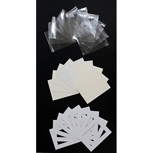 Backs and Clear Bags 10 x 8 to fit 6 x 8 Black Picture Photo Mounts Pack of 20