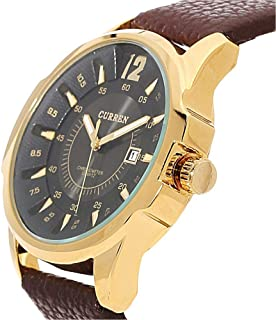 CURREN 8123 Golden Black Dial UNISEX Leather Strap Watch