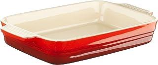 LE CREUSET Bandeja Rectangular, para 4 porciones, Cerámica de gres, Rojo (Cereza), 26 cm