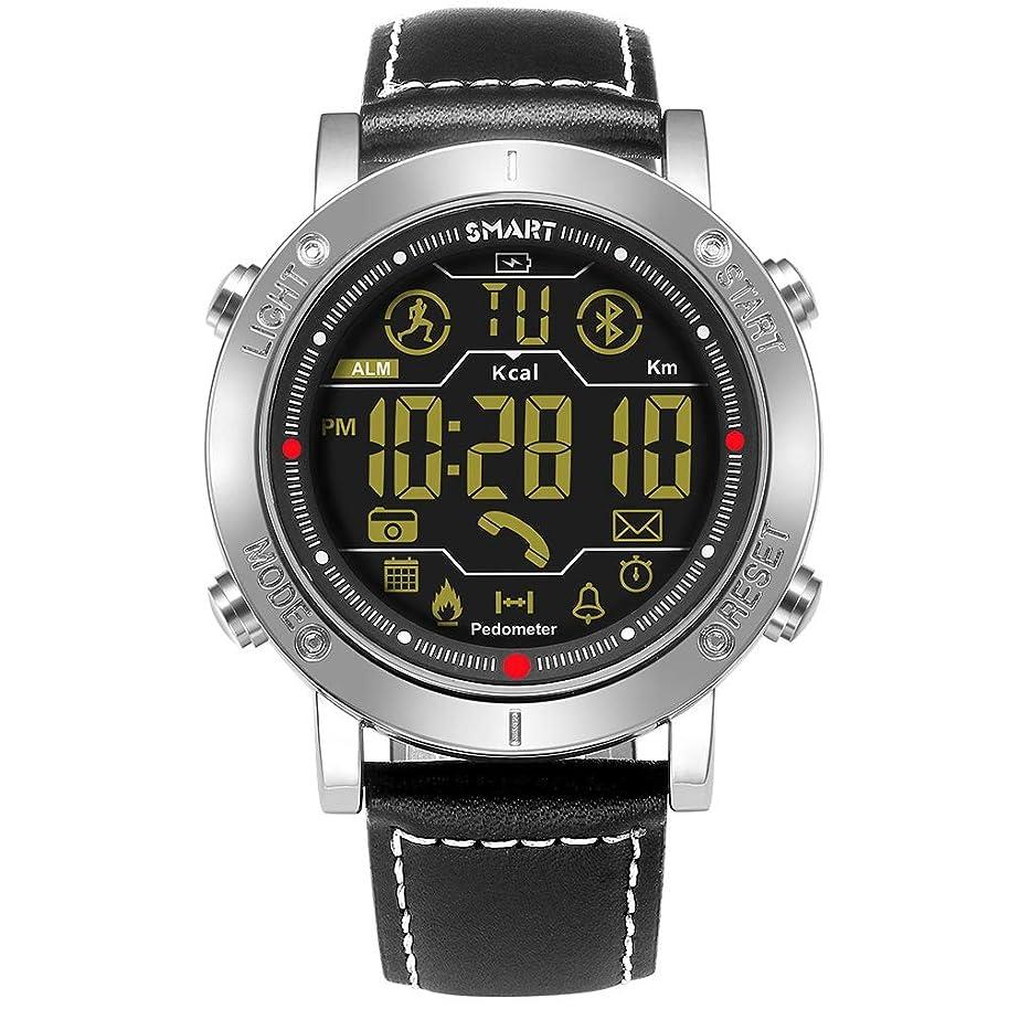 指令パイプ剥ぎ取るZCY 屋外のスマートな腕時計、ブルートゥースの連続した腕時計が付いている防水適性の活動の追跡者のブレスレット (Color : Silver)
