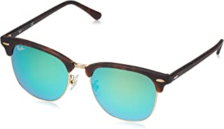 RB3016F Clubmaster Square Asian Fit Sunglasses, Sand Havana & Gold/Green Flash, 55 mm