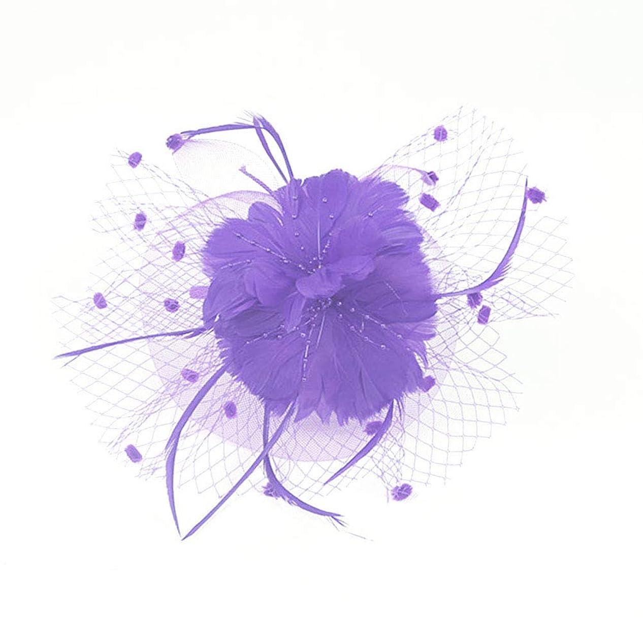 機構推定むさぼり食うBeaupretty魅惑的な帽子羽メッシュネットベールパーティー帽子ピルボックス帽子羽の魅惑的なキャップレディース結婚式宴会カクテルパーティー(紫)