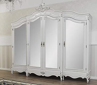 SIMONE GUARRACINO LUXURY DESIGN Armoire Julian Style Baroque Moderne Blanc laqué et Feuille Argent 4 Portes 4 miroirs 2 ti...