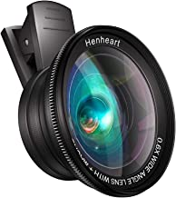 Phone iPad Lens Attachment Cell Phone Camera Lens Kit Henheart 0.6X Wide Angle Lens and Macro Lens - Black