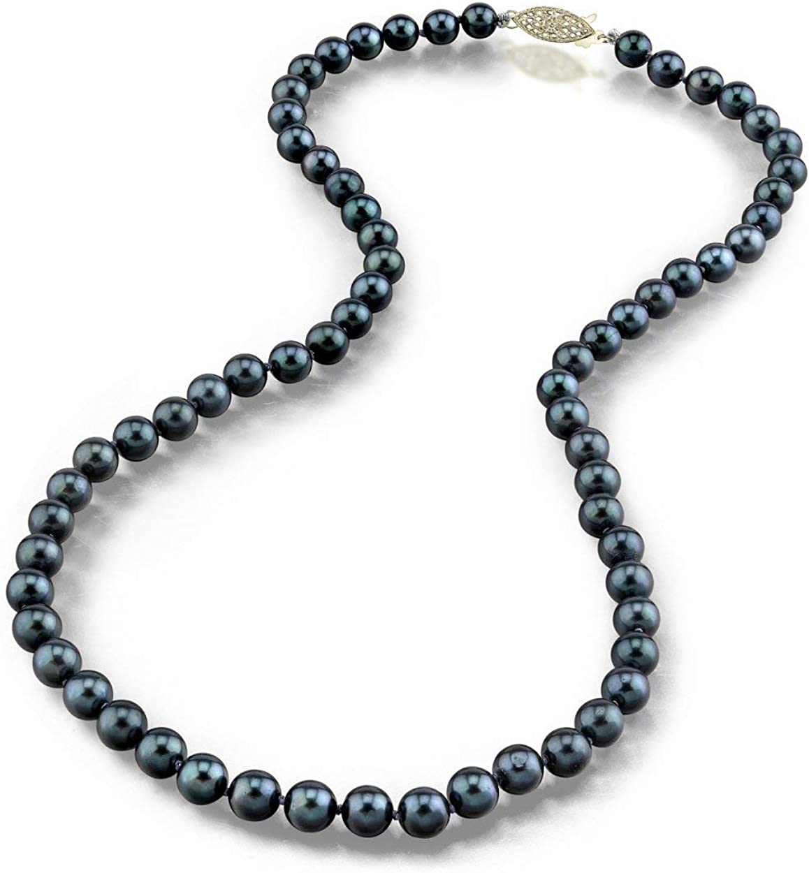 THE PEARL SOURCE 14K Gold 6.5-7.0mm AAA Quality Round Genuine Black Japanese Akoya Saltwater Cultured Pearl Necklace in 24