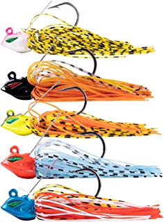 Dr.Fish 5PCs Fishing Weedless Jigs Kit Swim Jig Bass Fishing Lure Silicone Skirt Artificial Bait Trout Pike Freshwater Saltwater Flipping Jig