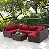 U-MAX 7 Piece Outdoor Patio Furniture Set, PE Rattan Wicker Sofa Set, Outdoor Sectional Furniture Chair Set with Cushions and Coffee Table
