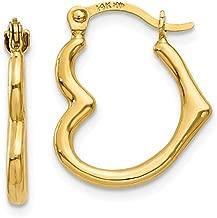 14K Gold Heart Shaped Hoop Earrings (2mm Thick), 16mm (0.60 In),18mm (0.71 in) & 20mm (0.78 In)