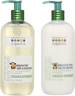 Nature's Baby Organics Baby Shampoo and Conditioner Combo Pack with Organic Ingredients, No Sulfate or Paraben, Coconut Pi...