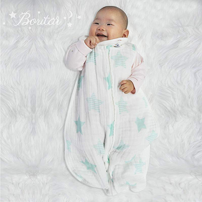 Boritar Baby Muslin Sleeping Bag 100 Cotton Classic Sleeping Sack For Baby Easy Swaddle Wearable Blanket Little Green Stars Large