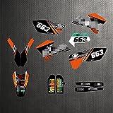 YHYPRESTER ZWFC001-4 Pegatinas de motocicleta 3M personalizadas Pegatinas Gráficos Gráficos Kit de decancia gráfica compatible con K*T*M XCW SXF EXC XCF 125 150 200 250 300 350 450 450 500 2005 2006 2