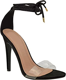 Womens High Heel Barely There Clear Perspex Ankle Strappy Sandals Size