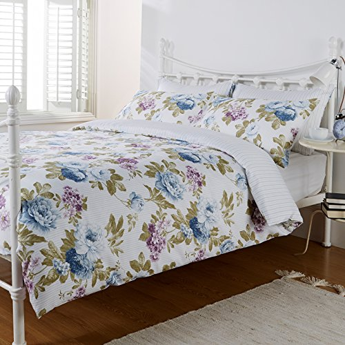 Pure Opulence Marilla Violet Floral Blue Stripe Super King Duvet Quilt Cover Bedding Set