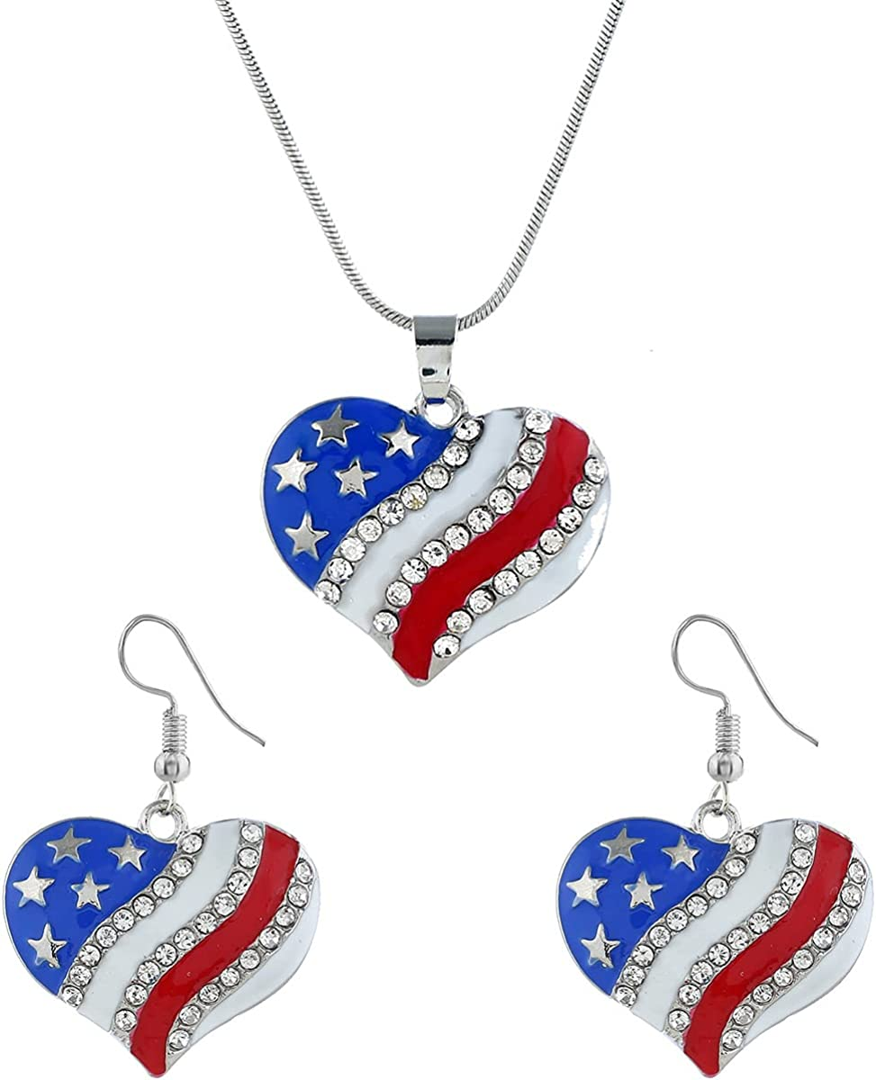 nylry American USA Flag Heart Pendant Necklace & Dangle Earrings 4th of July Independence Day Patriotic Star Necklace Earrings Set for Women Girls