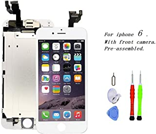 Premium Screen Replacement Compatible with iPhone 6 4.7 inch Full Assembly - LCD Touch Display Digitizer with Front Camera, Ear Speaker and Sensors, Compatible with All iPhone 6 (White)