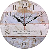 TAHEAT 34 cm Clásico Puerto Reloj de Pared, Retro Rústico País Relojes Redondo De Madera Silencio Sin tictac Reloj de Pared, De Pilas Fácil de Leer Decorativo Relojes