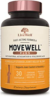 Joint Health Supplement - MoveWell Plus by LiveWell | Antarctic Krill Oil, Natural Astaxanthin and Hyaluron...