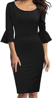 Womens Flounce Bell Sleeve Scoop Neck Office Work Casual Pencil Dress