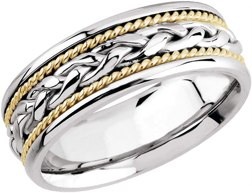 Solid 14k White and Yellow Great interest Gold supreme Two 8mm Tone Band Wedding Woven
