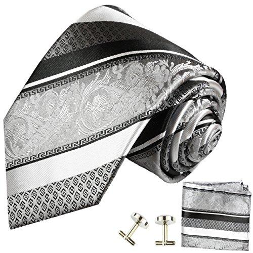 Cravate argenté noire rayée ensemble de cravate 3 Pièces ( 100% Soie Cravate + Mouchoir + Boutons de manchette )