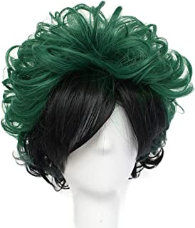 All Dark Green ColorGround All Green Short Curly Prestyled Natural Cosplay Wig for Men and Women