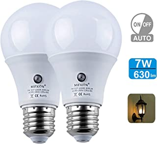 Dusk to Dawn Light Bulbs, Auto ON/Off LED Smart Bulbs 7W A19 6000K, 60W Equivalent, Porch Light Bulbs for Yard Patio Garage Garden 2 Pack by Mingfuxin