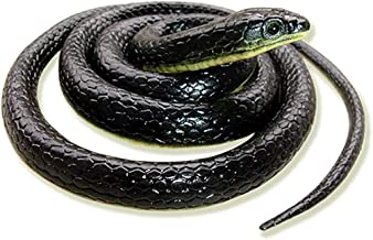 Binory Realistic Fake Novelty Toy,Green Garden Rubber Snakes Black,49 Inch Long Garden Snakes to Scare Birds,Water Snake Toy, Fake Rubber Snake for April Fool's Day Halloween Party Prank(1pc)