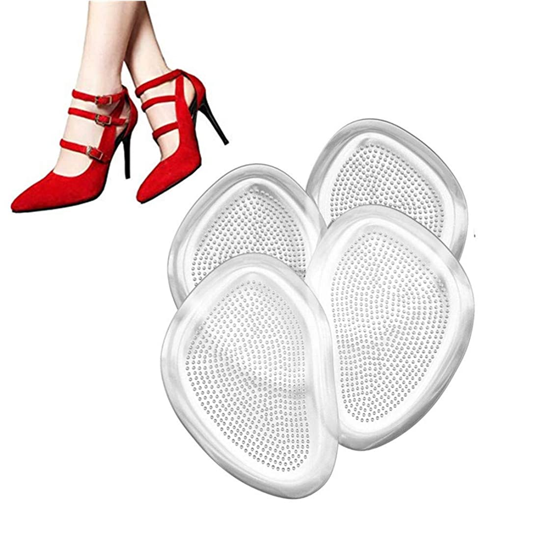 キネマティクスアリ害足裏保護パッド つま先保護カバー インソール前ズレ防止 ジェルパッド シリコンクッション つま先の痛み緩和 疲れ緩和 足裏マッサージ 靴ずれ防止パッド 柔らかい 2足分 4枚入り