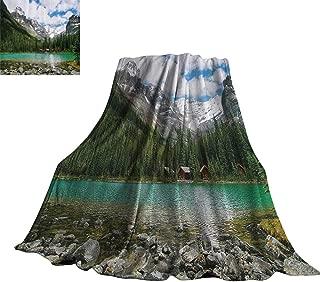 WinfreyDecor Landscape Home Throw Blanket Canada Ohara Lake Yoho National Park with Mountains Nature Scenery Art Photo 36